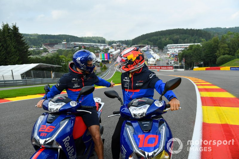Pierre Gasly, Toro Rosso, rides on a scooter at Eau Rouge