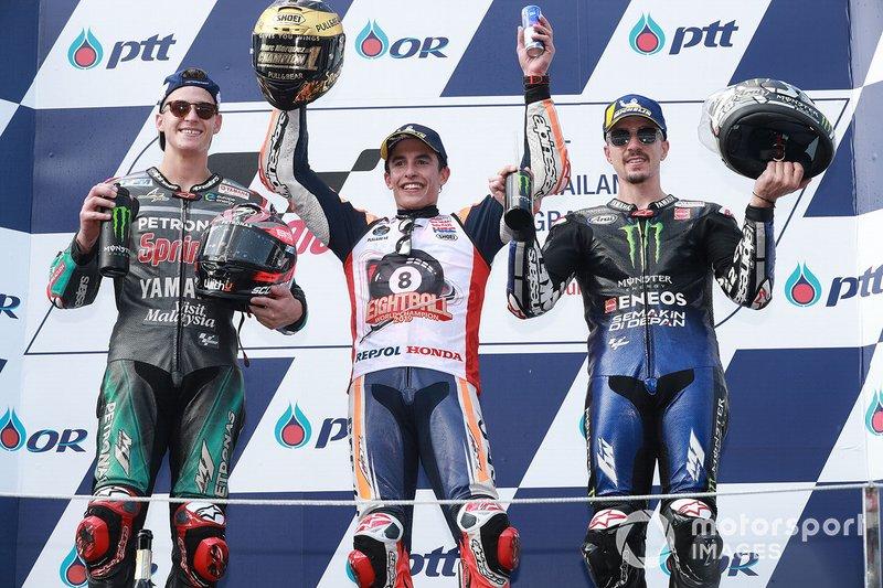 Podium: race winner Marc Marquez, Repsol Honda Team, second place Fabio Quartararo, Petronas Yamaha SRT, third place Maverick Vinales, Yamaha Factory Racing