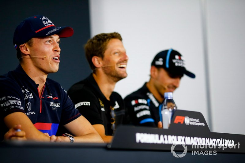 Daniil Kvyat, Toro Rosso, Romain Grosjean, Haas F1 and Robert Kubica, Williams Racing in the Press Conference