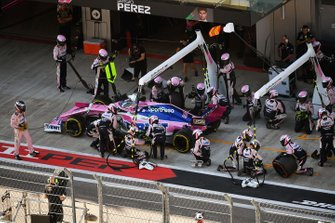Sergio Perez, Racing Point RP19, leaves his pit box after a stop