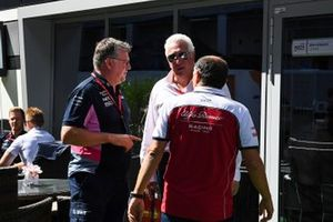 Otmar Szafnauer, Team Principal and CEO, Racing Point, Lawrence Stroll, Owner, Racing Point, and Frederic Vasseur, Team Principal, Alfa Romeo Racing