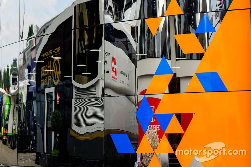 Mclaren and Haas F1 Team motorhome reflection