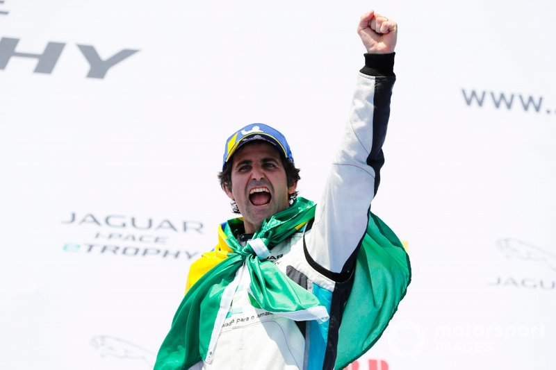 Sérgio Jimenez, Jaguar Brazil Racing celebrates victory on the podium