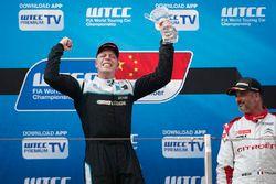 Podium: race winner Thed Björk, Polestar Cyan Racing, Volvo S60 Polestar TC1
