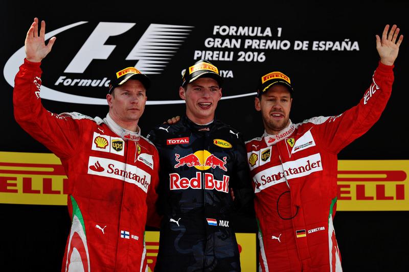 Max Verstappen, Red Bull Racing, Kimi Raikkonen, Scuderia Ferrari y Sebastian Vettel, Scuderia Ferra