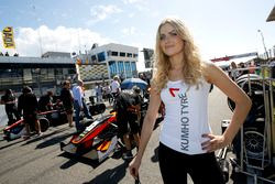 Grid girl of Callum Ilott, Van Amersfoort Racing Dallara F312 - Mercedes