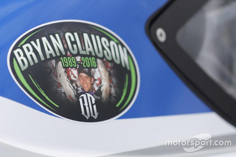 A sticker remembering Bryan Clauson