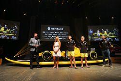 David Croft, Sky Sports Commentator, Ellie Jean Coffey, Jolyon Palmer, Renault Sport F1 Team, Kevin Magnussen, Renault Sport F1 Team and Cyril Abiteboul, Renault Sport F1 Managing Director