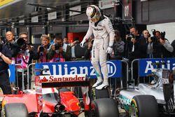 Lewis Hamilton, Mercedes AMG F1 W07 Hybrid celebrates his pole position in parc ferme