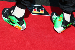 Racng boots of Nico Hulkenberg, Sahara Force India F1 as the grid observes the national anthem