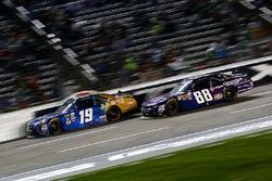 Daniel Suarez, Joe Gibbs Racing Toyota and Dale Earnhardt Jr., JR Motorsports Chevrolet