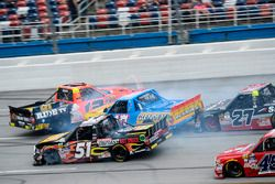 Cody Coughlin, ThorSport Racing Toyota, crashes with, Myatt Snider, Kyle Busch Motorsports Toyota, Chris Fontaine, Glenden Enterprises Toyota Tundra, Ben Rhodes, ThorSport Racing Toyota