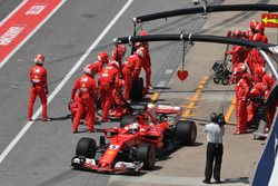 Sebastian Vettel, Ferrari SF70H leaves his pit stop after a front wing change