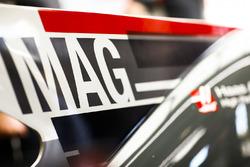 Il nome ingrandito di Kevin Magnussen, Haas F1 Team, sul lato della pinna