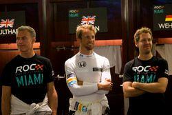 David Coulthard, Jenson Button y Sebastian Vettel