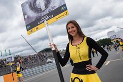 Grid girl of Joel Eriksson, Motopark Dallara F317 - Volkswagen