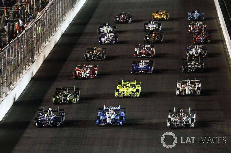 Max Chilton, Chip Ganassi Racing Honda, Josef Newgarden, Team Penske Chevrolet, Will Power, Team Penske Chevrolet