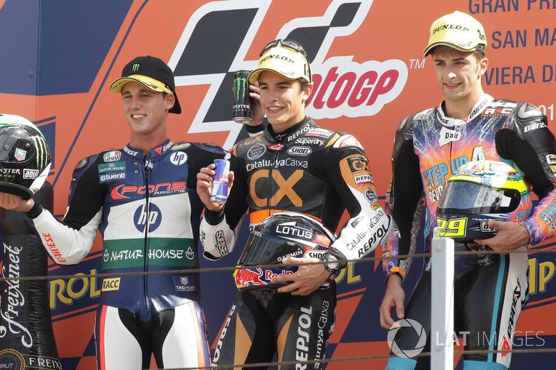 Le podium du GP de Saint-Marin 2012 de Moto2 : Marc Márquez, Pol Espargaró, Andrea Iannone