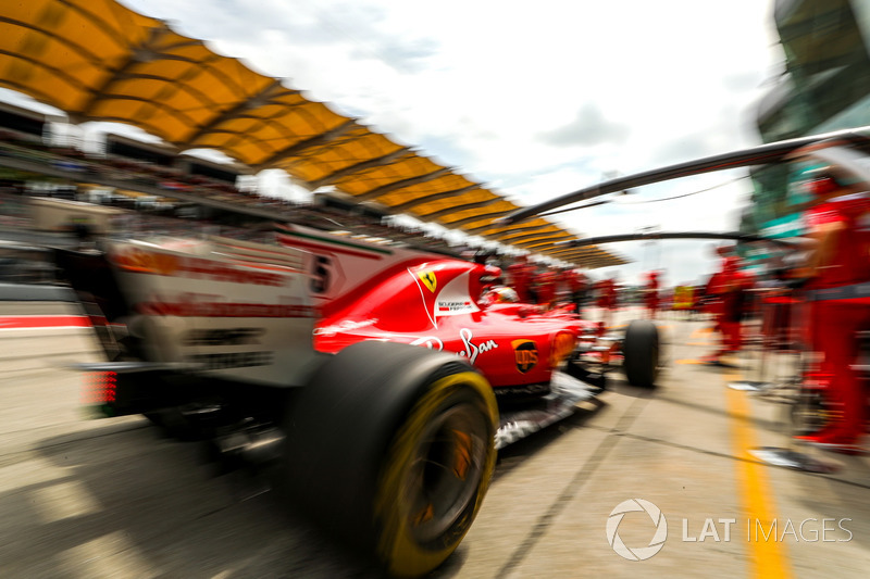 Sebastian Vettel, Ferrari SF70H, prova di pit stop