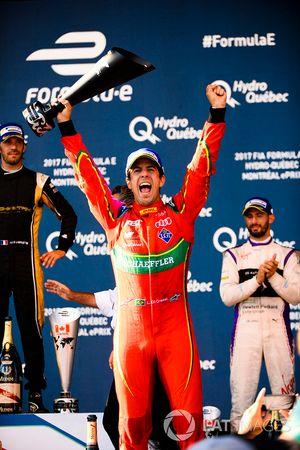 Lucas di Grassi, ABT Schaeffler Audi Sport., celebrates on the podium