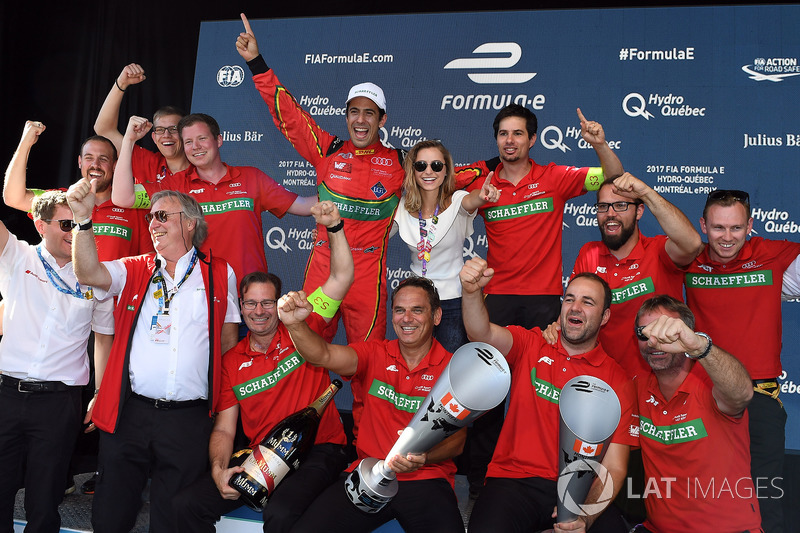 The Abt Audi team celebrate after the race