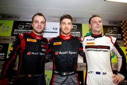 Top 3 after Qualifying; First place Edoardo Mortara, Audi Sport Team WRT Audi R8 LMS; second plce Laurens Vanthoor, Audi Sport Team WRT Audi R8 LMS; third place Earl Bamber, Manthey Racing Porsche 911 GT3-R