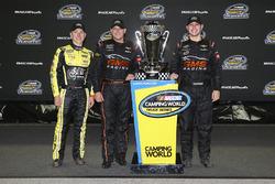 John Hunter Nemechek, SWM-NEMCO Motorsports Chevrolet, Johnny Sauter, GMS Racing Chevrolet, and Kaz Grala, GMS Racing Chevrolet