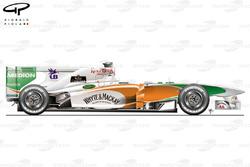 Vue latérale de la Force India VJM04, au lancement