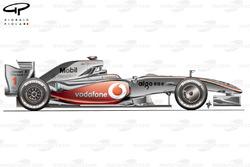 Vue latérale de la McLaren MP4-24, aux tests de Jerez