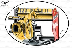 Renault R30 rear wing with F-duct, upper flap cut down when compared with previous specification