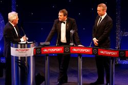 Nigel Mansell onstage with Sir Chris Hoy and Steve Rider after receiving the Gregor Grant Award