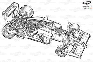 Подробная схема Ferrari F1-87/88C 1988 года