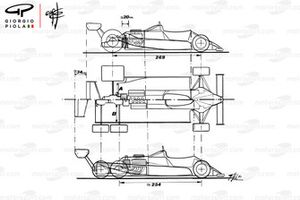 Comparación del Williams FW08 1982 y el FW08B de seis ruedas