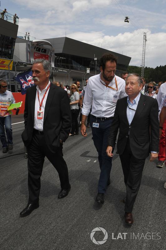 Чейз Кері, голова групи Формули 1, Маттео Бончіані, медіа-делегат FIA , Жан Тодт, президент FIA