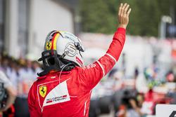 Second place Sebastian Vettel, Ferrari, in Parc Ferme