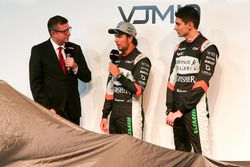 David Croft, Sergio Perez and Esteban Ocon at the Sahara Force India launch