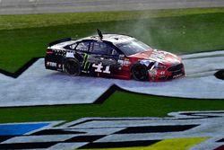 Kurt Busch, Stewart-Haas Racing Ford, does a burnout after winning