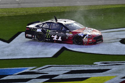 Kurt Busch, Stewart-Haas Racing Ford, does a burnout after winning