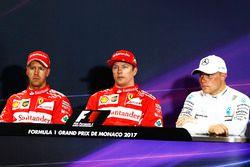 Basın toplantısı: Pole Kimi Raikkonen, Ferrari, 2. Sebastian Vettel, Ferrari, 3. Valtteri Bottas, Me