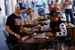 Danilo Petrucci relaxes to have an espresso served by dedicated waiter Andrea Migno