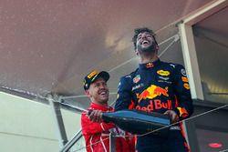 1. Sebastian Vettel, Ferrari; 3. Daniel Ricciardo, Red Bull Racing