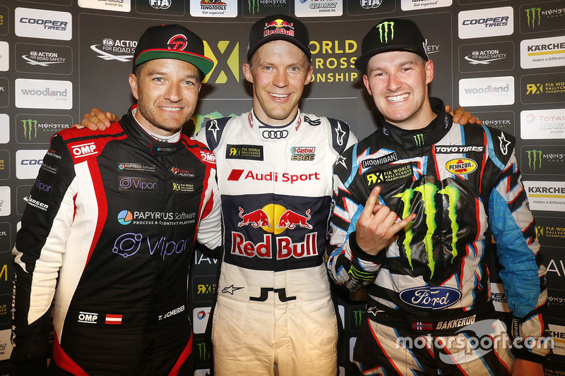 Winner Mattias Ekström, EKS RX, second place Timo Scheider, MJP Racing Team Austria, third place Andreas Bakkerud, Hoonigan Racing Division