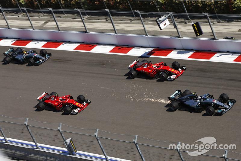 Valtteri Bottas, Sebastian Vettel, Kimi Raikkonen y Lewis Hamilton