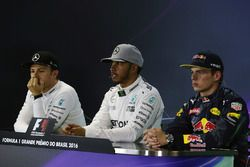 The FIA Press Conference (L to R): Nico Rosberg, Mercedes AMG F1, second; Lewis Hamilton, Mercedes AMG F1, race winner; Max Verstappen, Red Bull Racing, third