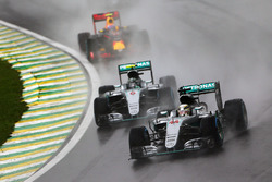 Lewis Hamilton, Mercedes AMG F1 W07 Hybrid leads team mate Nico Rosberg, Mercedes AMG F1 W07 Hybrid and Max Verstappen, Red Bull Racing RB12