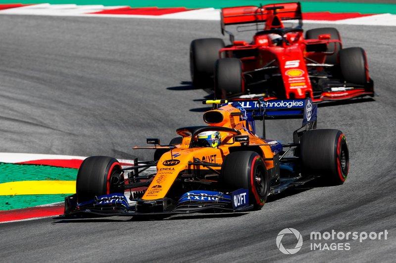 Lando Norris, McLaren MCL34, Sebastian Vettel, Ferrari SF90
