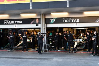 The Mercedes garage during Qualifying