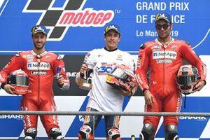 Podium : le vainqueur Marc Marquez, Repsol Honda Team, le deuxième, Andrea Dovizioso, Ducati Team, le troisième, Danilo Petrucci, Ducati Team