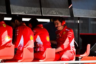 Mattia Binotto, Team Principal Ferrari, on the pit wall