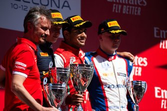 Podium: race winner Jehan Daruvala, PREMA Racing, second place Juri Vips, Hitech Grand Prix, third place Niko Kari, Trident